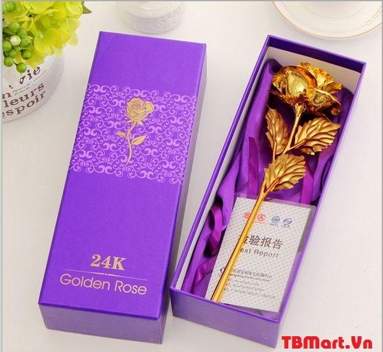 Hoa Hồng Mạ Vàng 24K mẫu mới, thật đến từng chi tiết.