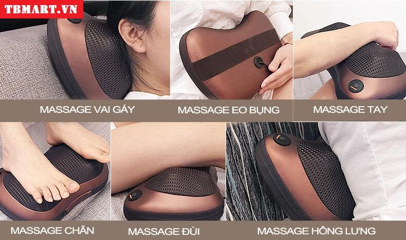 Gối Massage Vai Gáy Hồng Ngoại Akita - Massage ở các điểm khác nhau trên cơ thể.