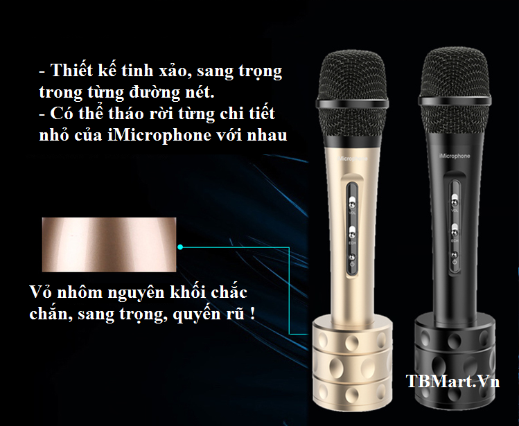Mic Kèm Loa iMicrophone làm từ Nhôm Nguyên Khối, Chắc Chắn và Bền Bỉ - Rất sang chảnh !