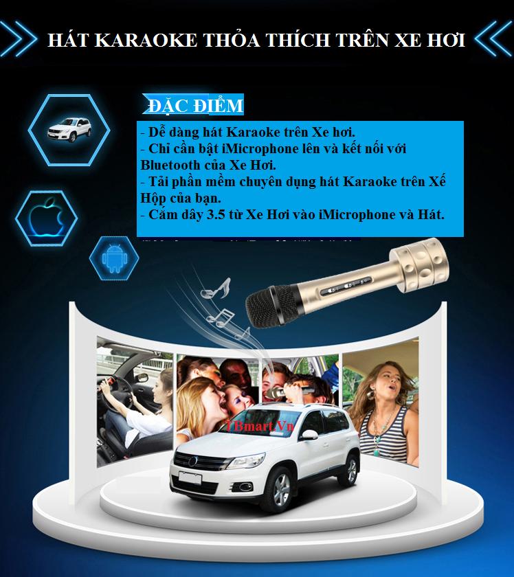 Mic Kèm Loa 3 Trong 1 Karaoke Bluetooth iMicrophone - Hát trên xe hơi thật dễ dàng.