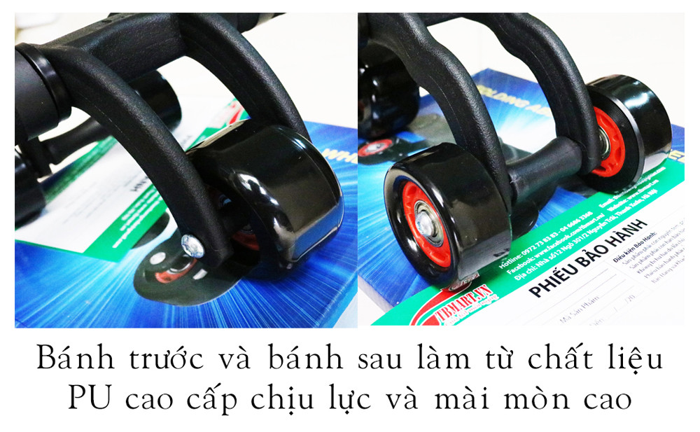 Con Lăn Tập Cơ Bụng 3 Bánh AB DOMINAL WHEEL Chính hãng, Bảo Hành 24 Tháng.