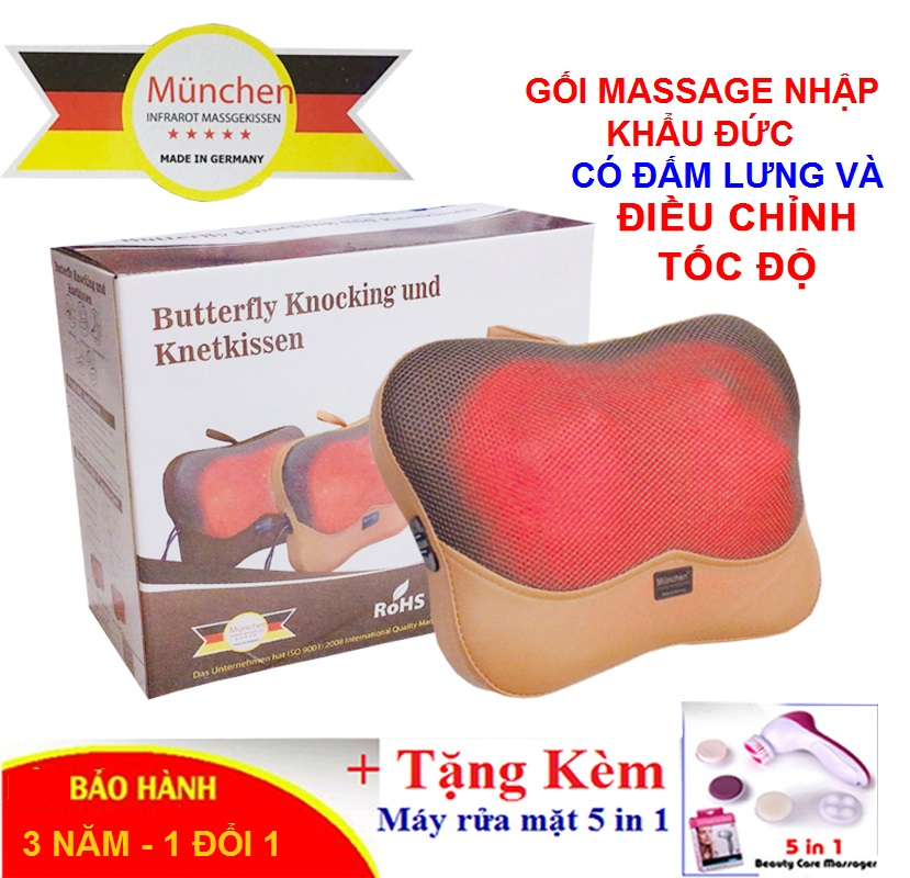 Gối Massage Hồng Ngoại 5D Có Điều Khiển München Nhập Khẩu Đức