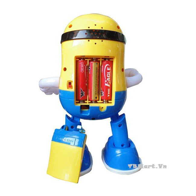 Đồ chơi Minion Biết Nhảy và Hát theo nhạc của TB MART được sử dụng 3 quả Pin con thỏ, rất tiện lợi, an toàn cho bé.