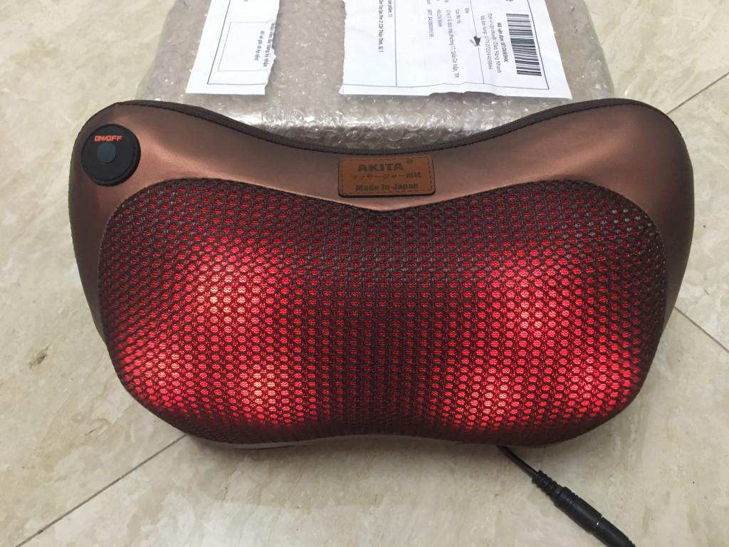 Gối Massage Hồng Ngoại Akita 6Bi - Có đèn hồng ngoại bên trong bi