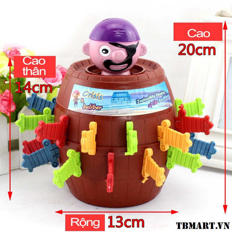 Kích thước của bộ đồ chơi đâm hải tặc cỡ lớn.
