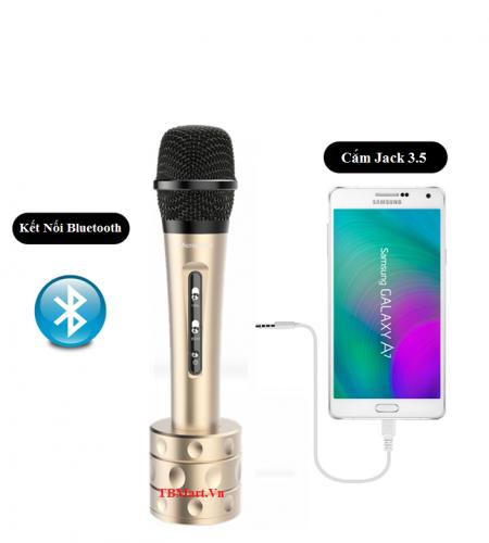 Mic Kèm Loa iMicrophone có cổng 3.5 có thể hát trực tiếp, nối ra loa thùng, tiện lợi.