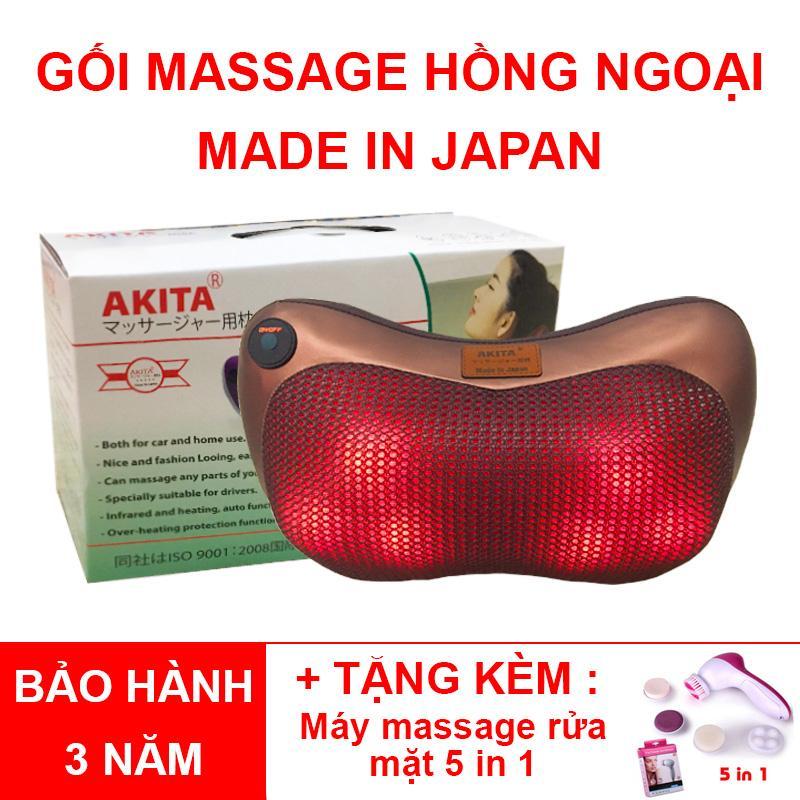 Gối Massage Hồng Ngoại Akita 6 Bi - Tặng Máy Massage Mặt 5 Trong 1