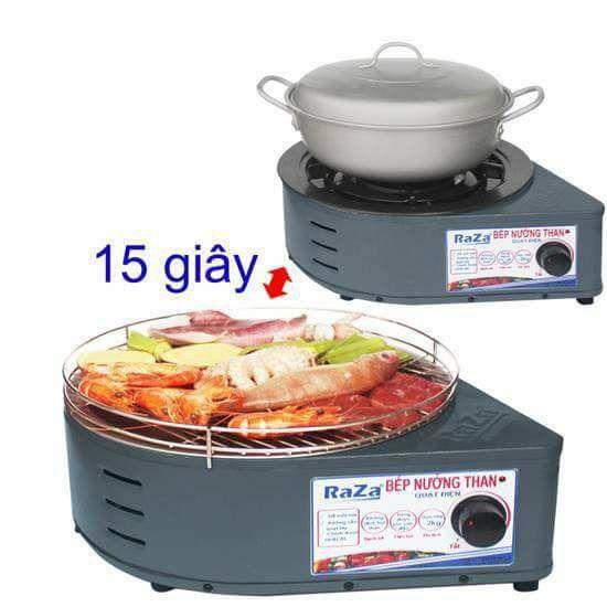 Bếp Nướng Than Hoa Raza có quạt điện.